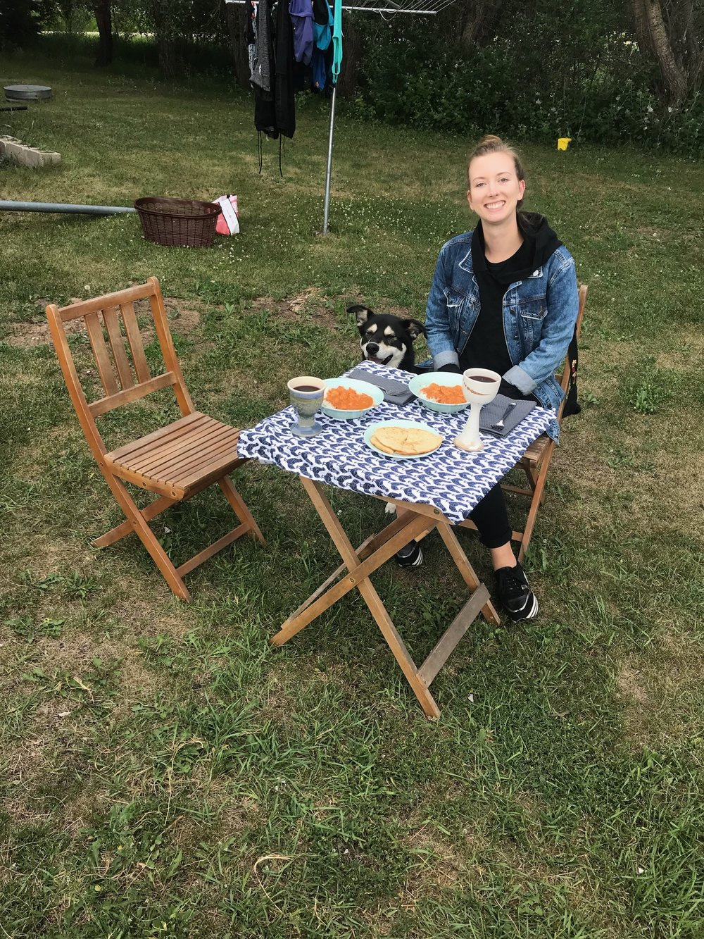 Like a true Ukrainian, I try to spend as much time as possible outdoors and with my family, like during this fabulous dinner my sister served me one evening in her back yard. Photo by Breanne Vitt.