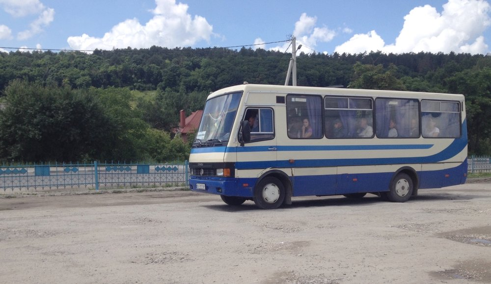 This bus drove me from Terebolvya to Lviv on June 25, but a similar one took me out to Terebolvya on June 24.
