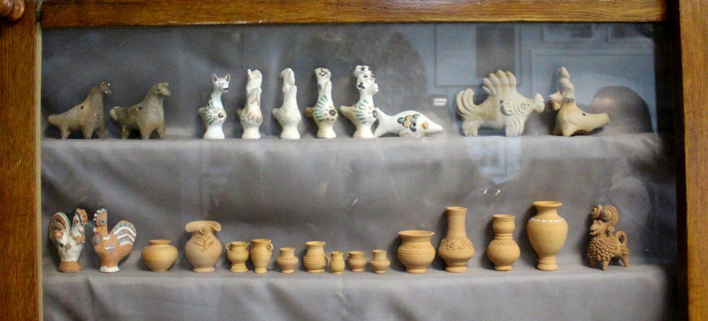 Whistles on display at the National Museum of Ukrainian Pottery in Opishne.