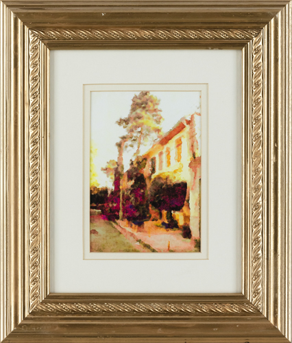 Mediterranean House - 14x12 in., rental framed $25