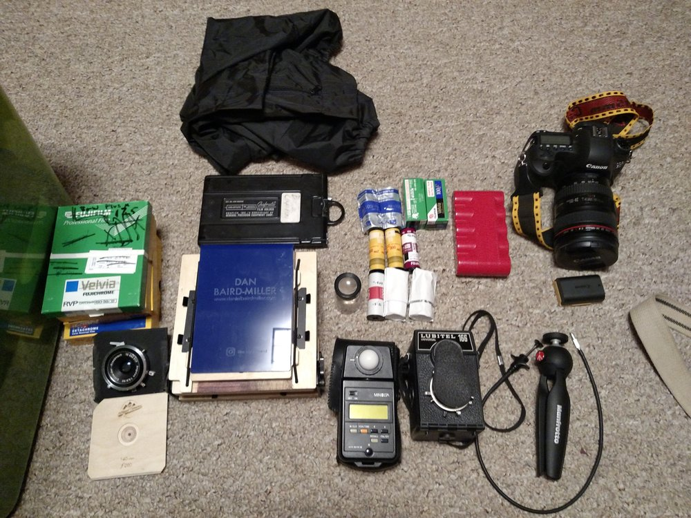 Most of my gear. I traveled around most locations with the majority of these items plus a tripod