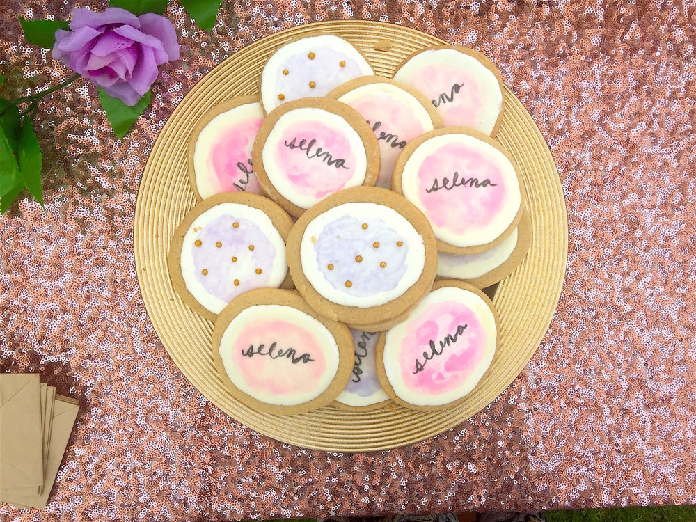 brown sugar shortbread cookies with royal icing and hand painted lettering