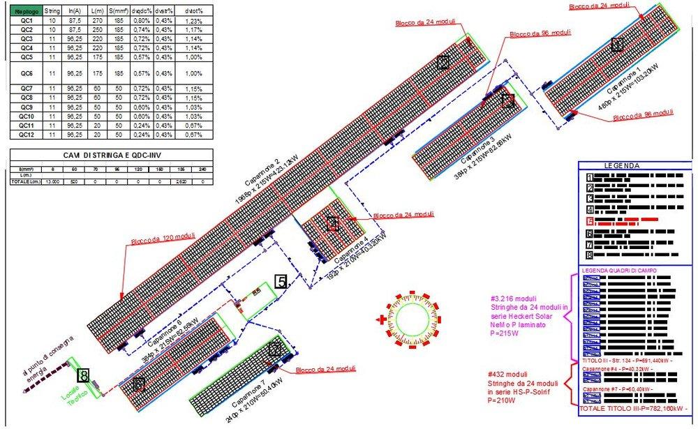 Stralcio progetto esecutivo impianto fotovoltaico su capannoni