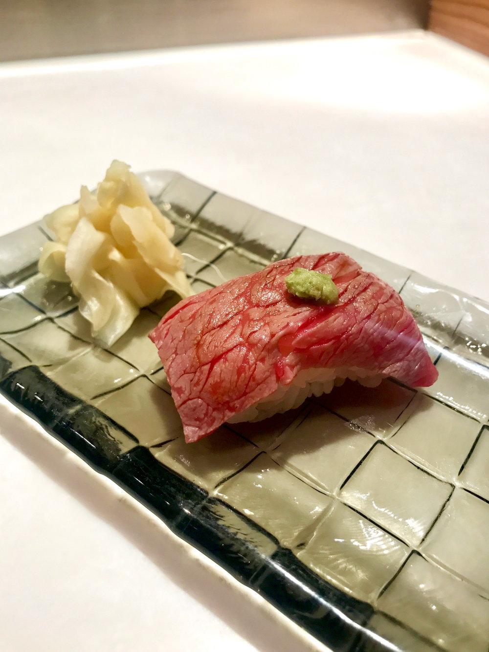 Wagyu sushi appetizer