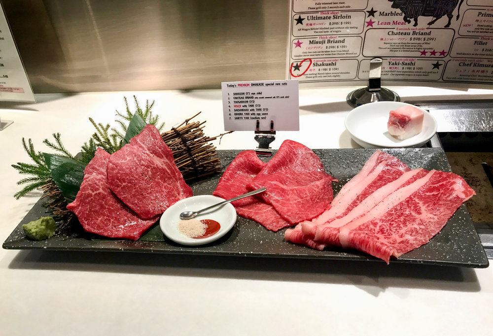 The first three meats from the premium omakase menu. From left to right: chateau briand, tougarashi, shakushi.