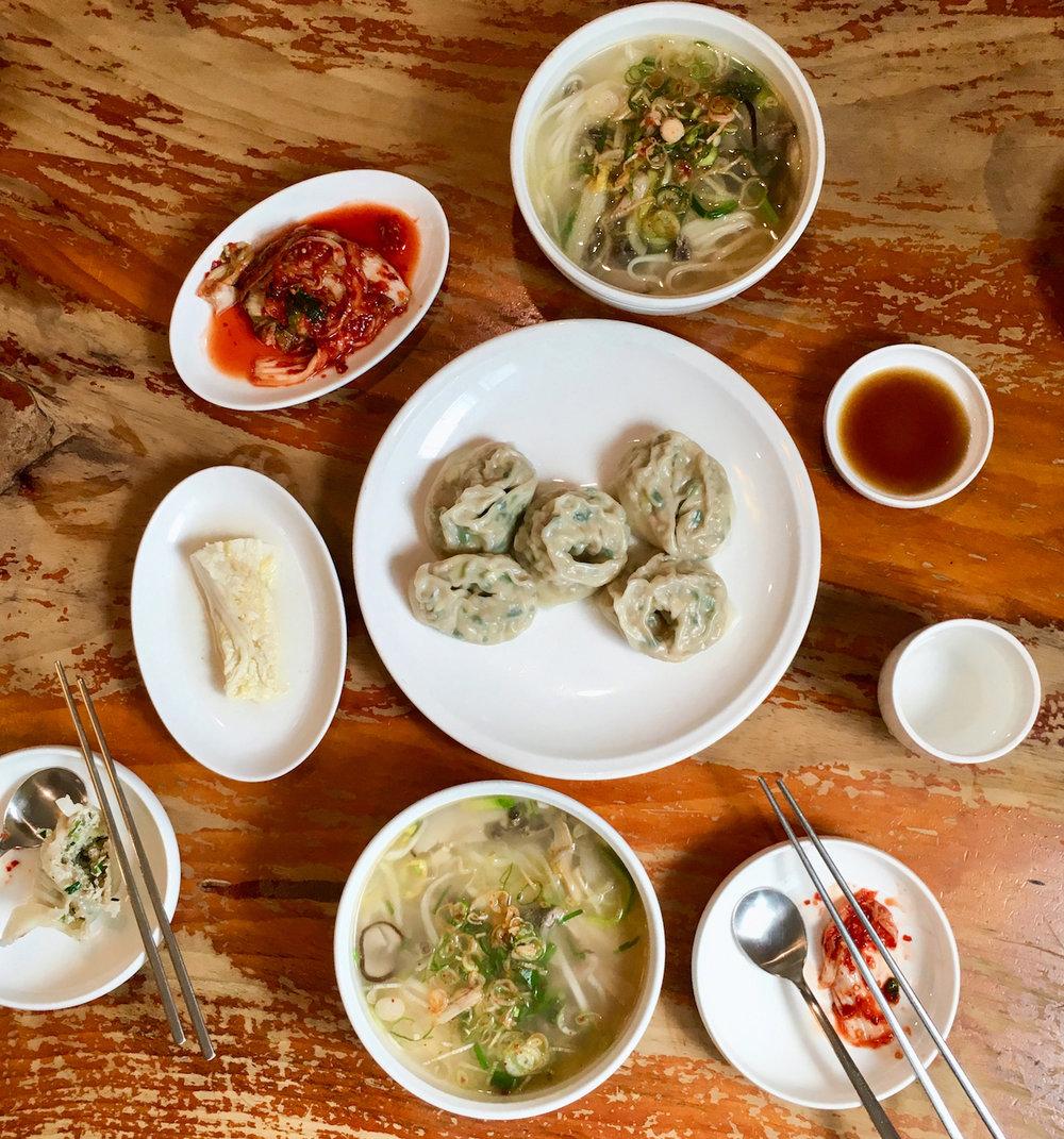Dumplings and chopped noodles at  Myeongdong Kyoja.