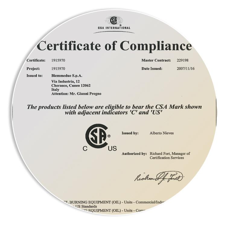 OMOLOGAZIONE CSA - Ottenimento dell'omologazione CSA (Canadian Standard Association) per l'esportazione dei generatori d'aria calda nel mercato del Nord America (Stati Uniti e Canada)