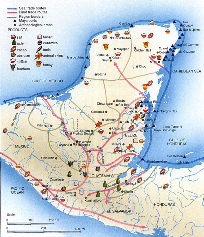 Mayan sea and land trade routes.