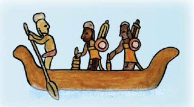 An enlarged extract from the mural in Chichén Itzá Temple of the Warriors, showing a paddler.