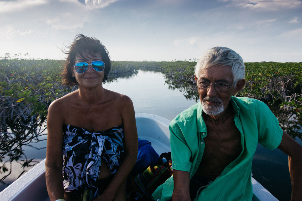 On the Chunyaxché river in Sian Ka'an with my husband in 2015.