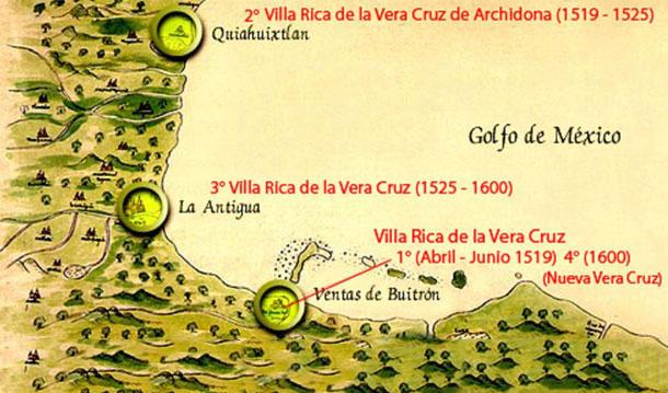 The three ports that Hernán Cortés built.