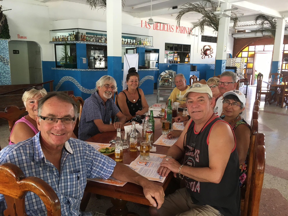 With a Canadian group of friends and my husband, enjoying lunch in the restaurant.