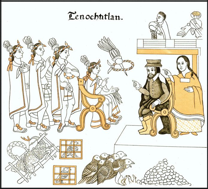 Cortés and his translator Malinche meet with Moctezuma in Tenochtitlan. Tedlock 2003