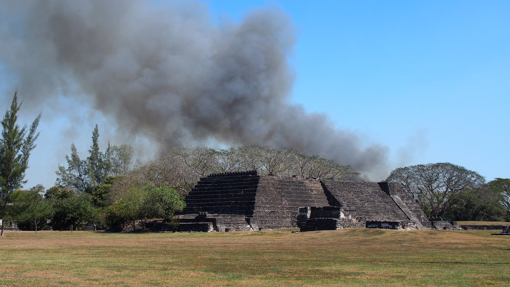 The locals still grow sugar cane. In fact, they were burning the fields during our visit; we could see the fire behind one of the pyramids.