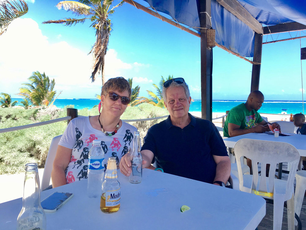 Having lunch with my friends Chris and John at Playa Maya, 2017.