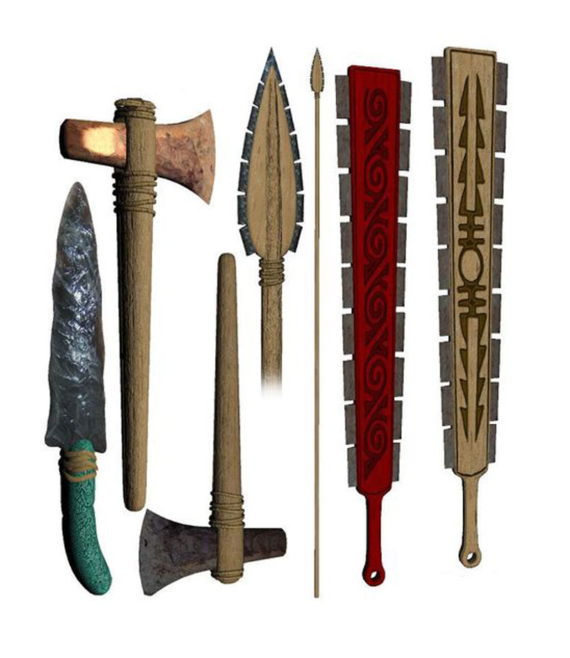 Mayan weapons with obsidian blades, courtesy of Flickr