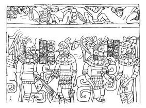 Drawing: Linda Schele, Warfare, Chichén Itzá. Warriors, carrying knives, axes, and spears.