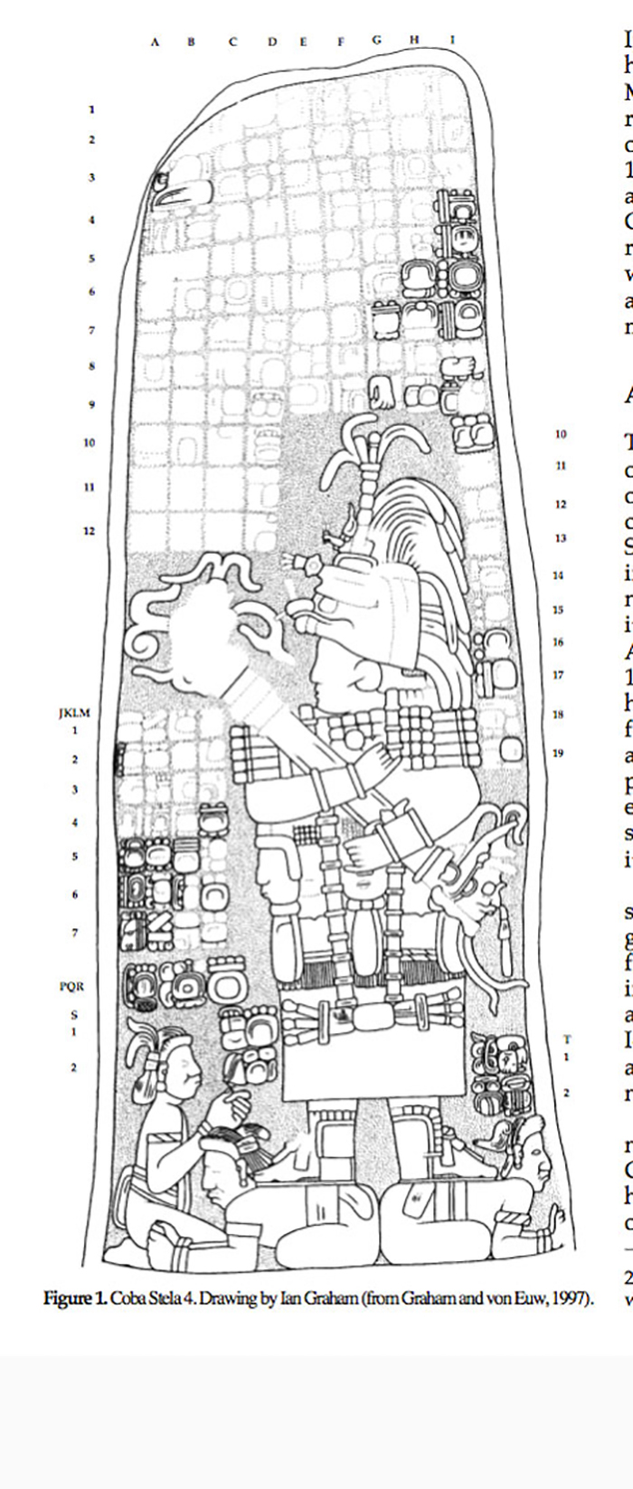 Female rulers standing on top of captives. Stela 4, Cobá. Drawing by Ian Graham (from Graham and von Euw 1997).