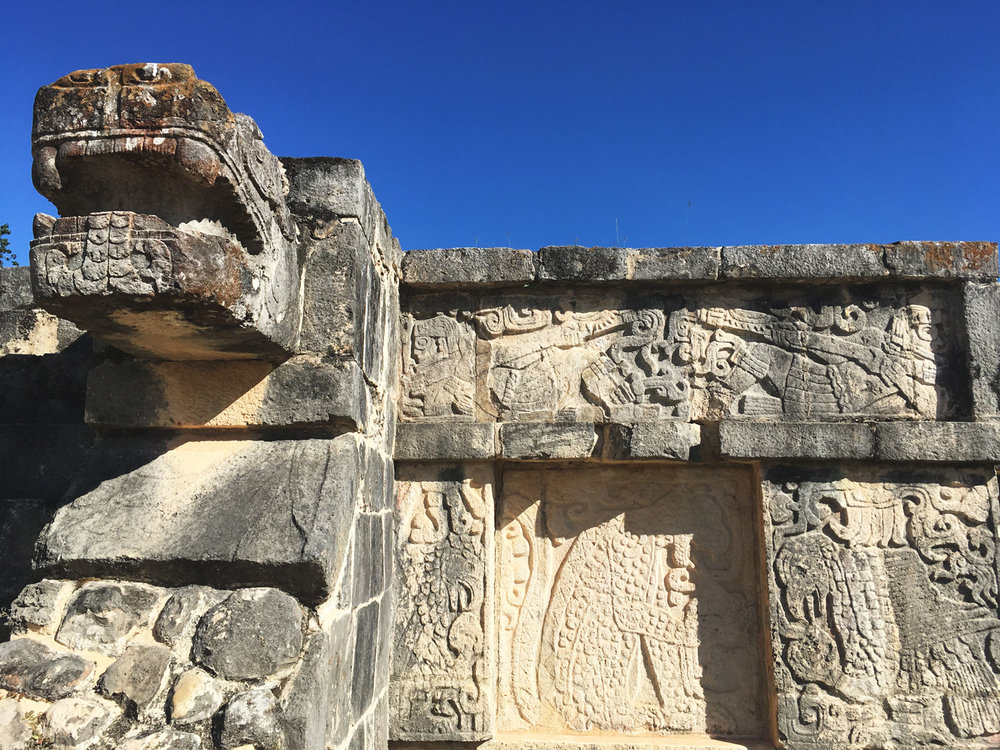 The temple of Eagles and Jaguars, Chichén Itzá. The eagle is devouring a human heart.