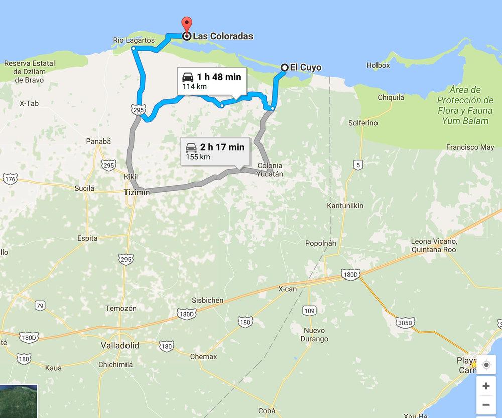 Las Coloradas Mexico Map.Pink Dreamscape Hammocks Ruins