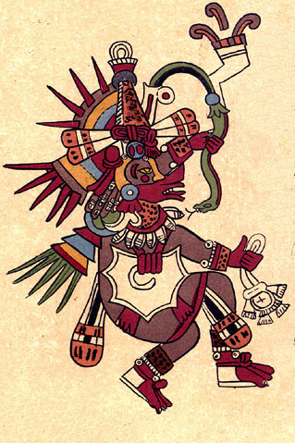 Quetzalcóatl as depicted in the  Codex Borbonicus .