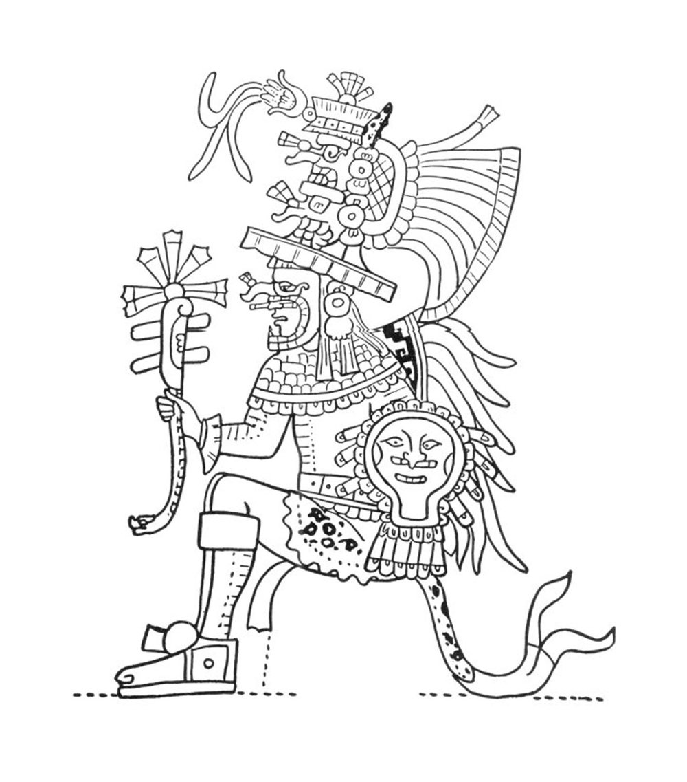Chac-Xib-Chac, a Mexican warrior on a jaguar seat, during the plot of Hunac Ceel. Temple of the Warriors (after Ann Axtell Morris).