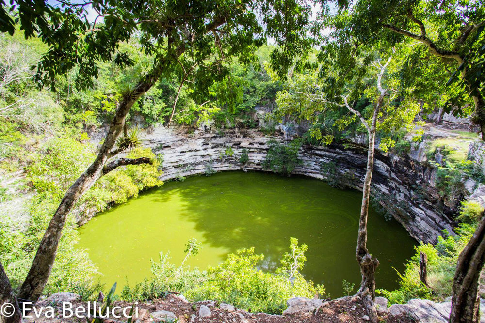 The Sacred cenote. Right: a cenote under the pyramid of Kukulkán.