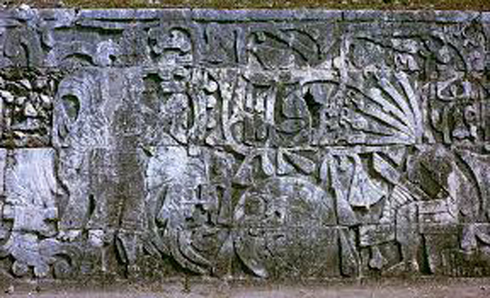 The frieze scene of player decapitation on the wall of the Ball Court.
