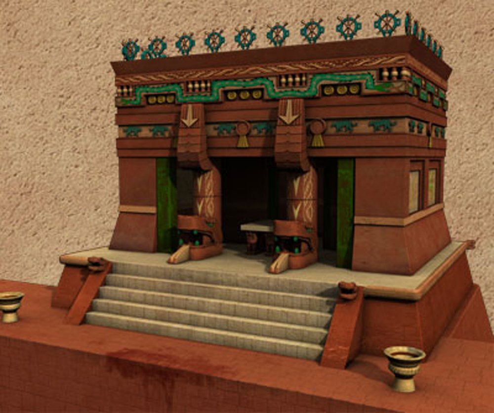 Left: The  Upper Temple of the Jaguars. Right: Reconstruction.