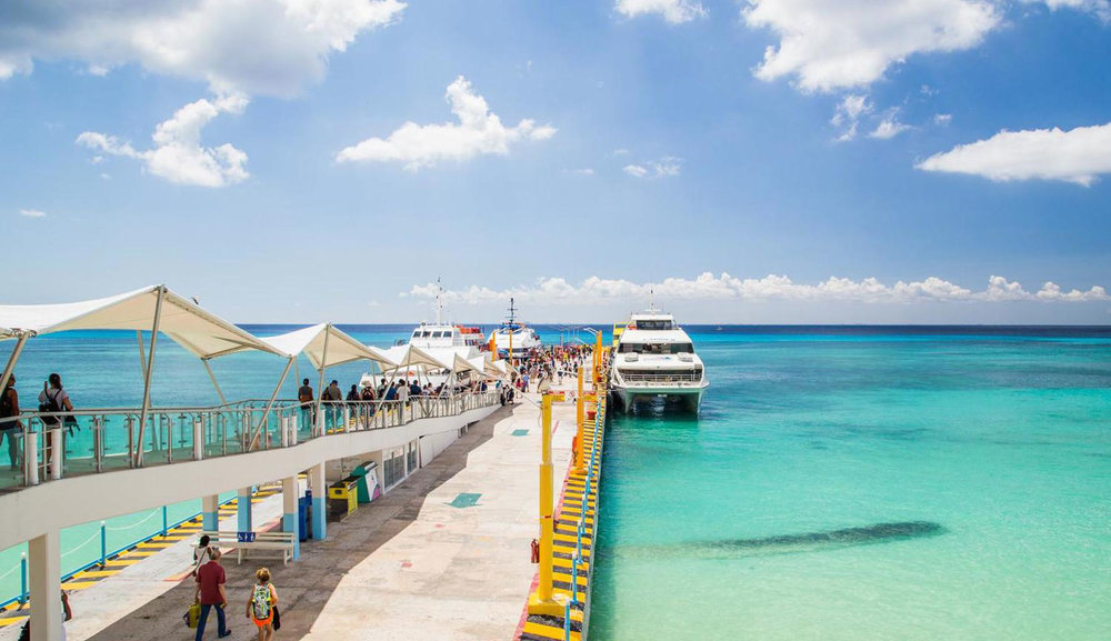 The ferry pier for Cozumel.