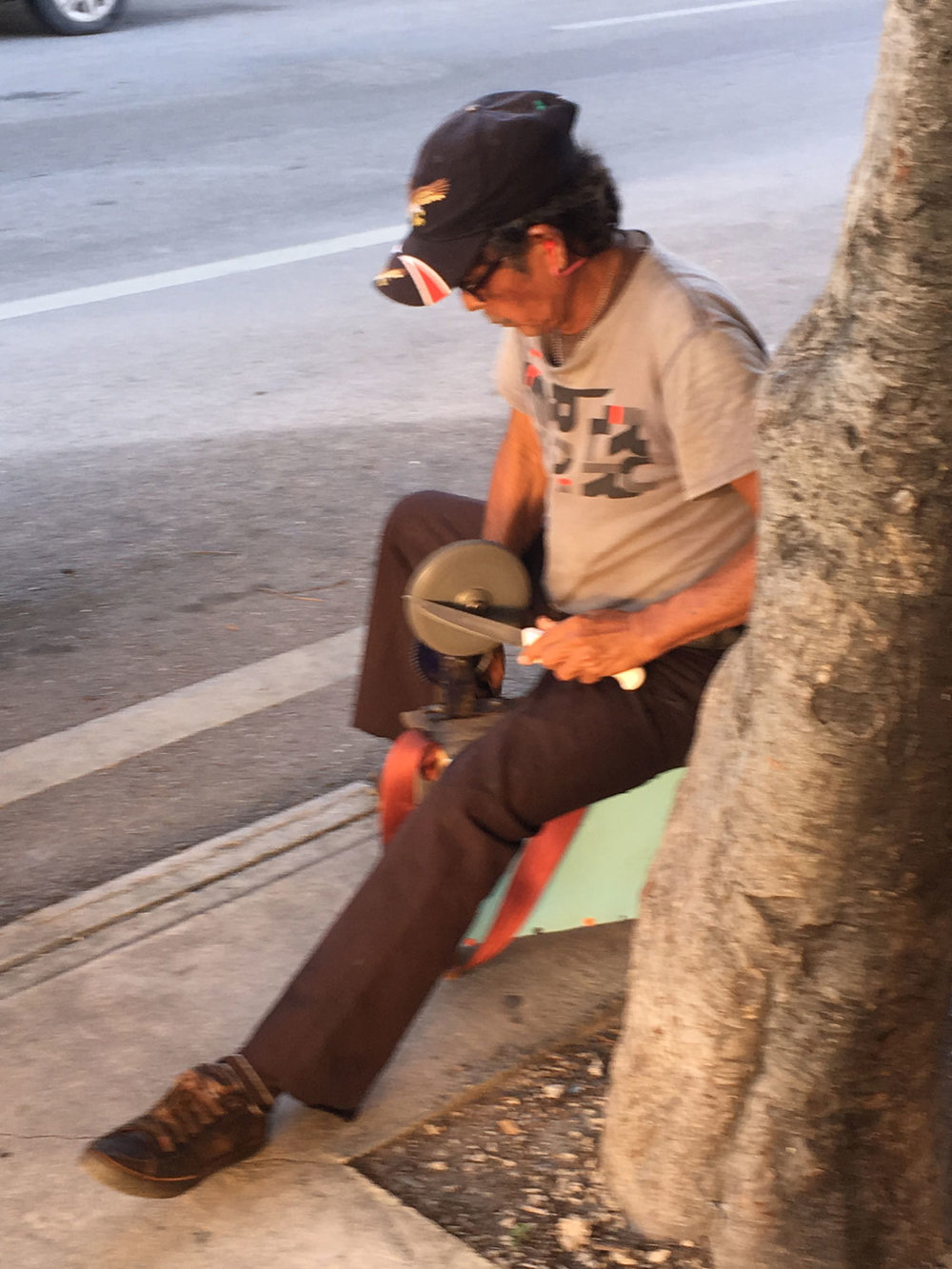 The knife sharpener outside our home.
