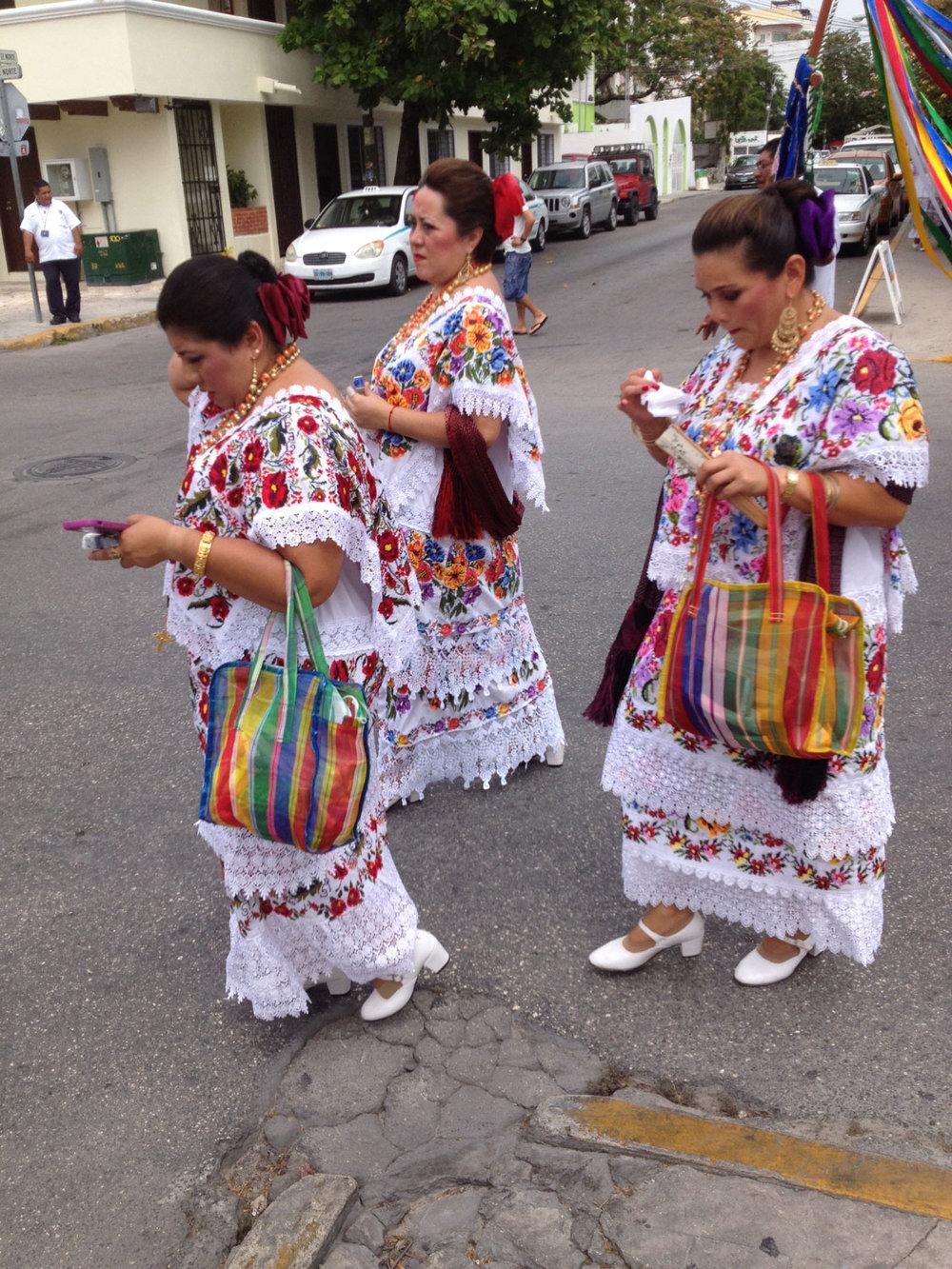 Local Yucatec Mayan women going to church.