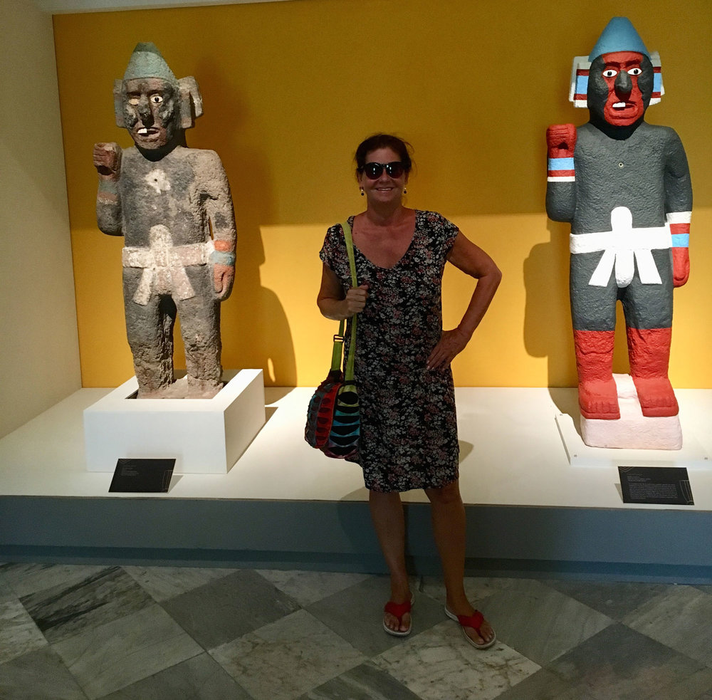 At Palacio Cantón Museum, with Aztec warriors (replicas).