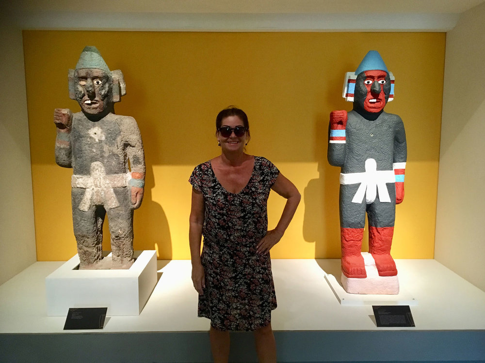 With the Aztec warriors (replicas). Luckily they have no spears!
