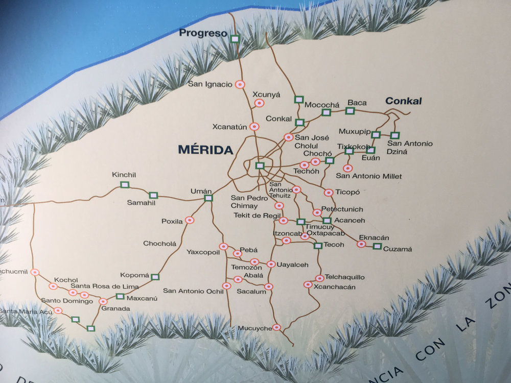 Map of haciendas around the town of Mérida.