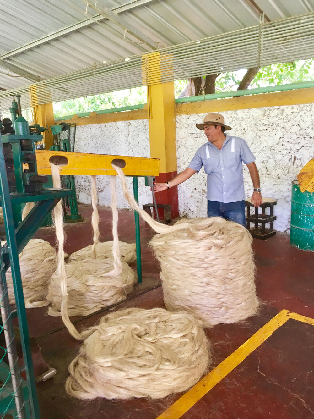 Our guide Miguel showing us a range of machines processing different thickness of sisal rope.