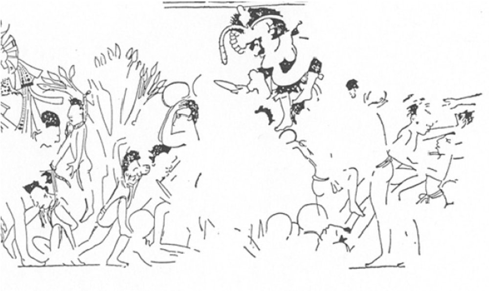 The routing and killing of panicked men in the forest, from the mural at Mulchic, Yucatán. Source: researchgate.org .