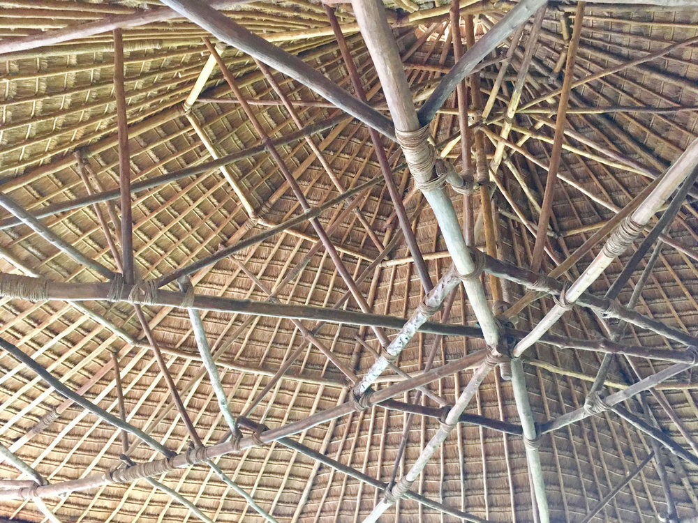 Enormous and elegant palapa at the hotel entry.