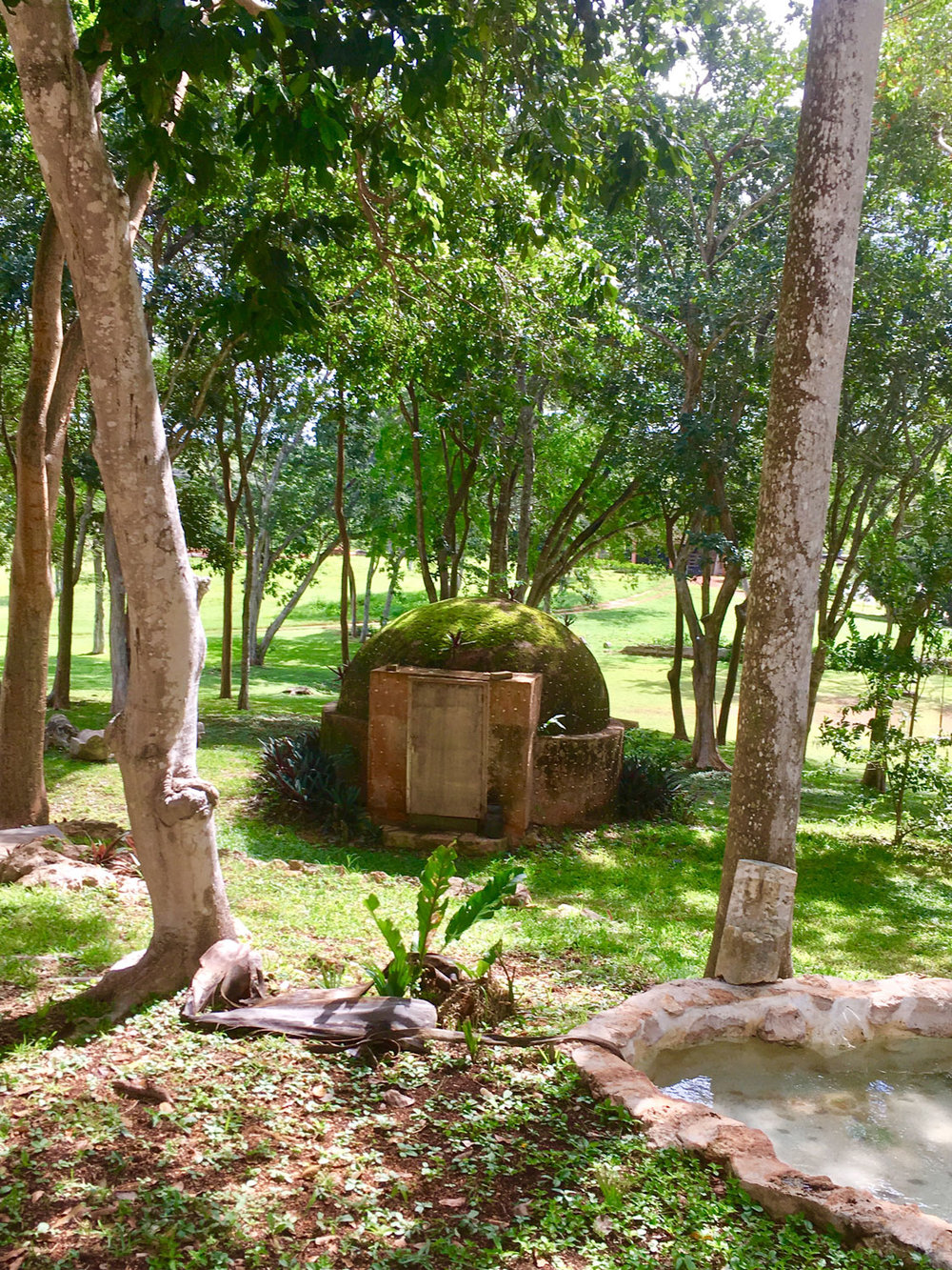 Temazcal (a Mayan sweat lodge) in the hotel garden.