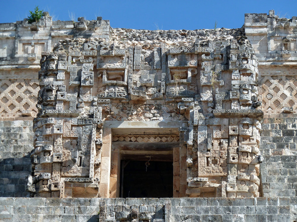 Witz  (Mountain) Monster around the doorway to Temple 4 at Magician's pyramid in Uxmal: the entry to the underworld.