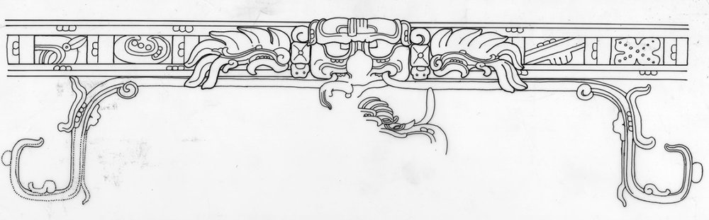 Drawing of Sky band by Linda Schele from Palenque (Palace House E) and the Cosmic Bird Itzam Yeh sitting in the middle: ancientamericas.org .