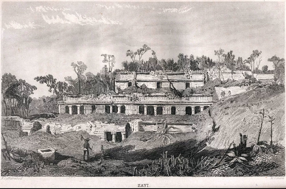 Engraving of the Palace, Drawing by Frederick Catherwood, Incidents of Travel in Yucatán, 1841. Source:  commons.wikimedia.org .