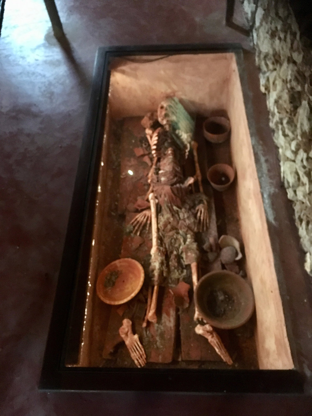 The Uxmal burial shows the deceased with his chocolate vessel.