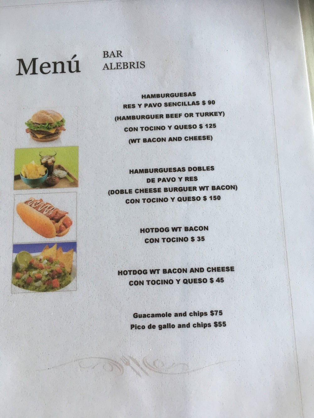 The bar menu. The prices are in Mexican pesos, not dollars.