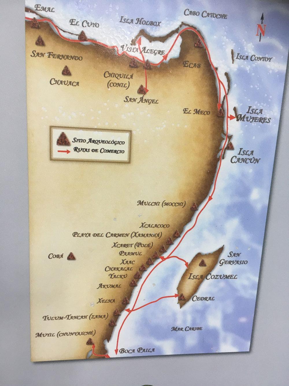 Trade routes along the coast.