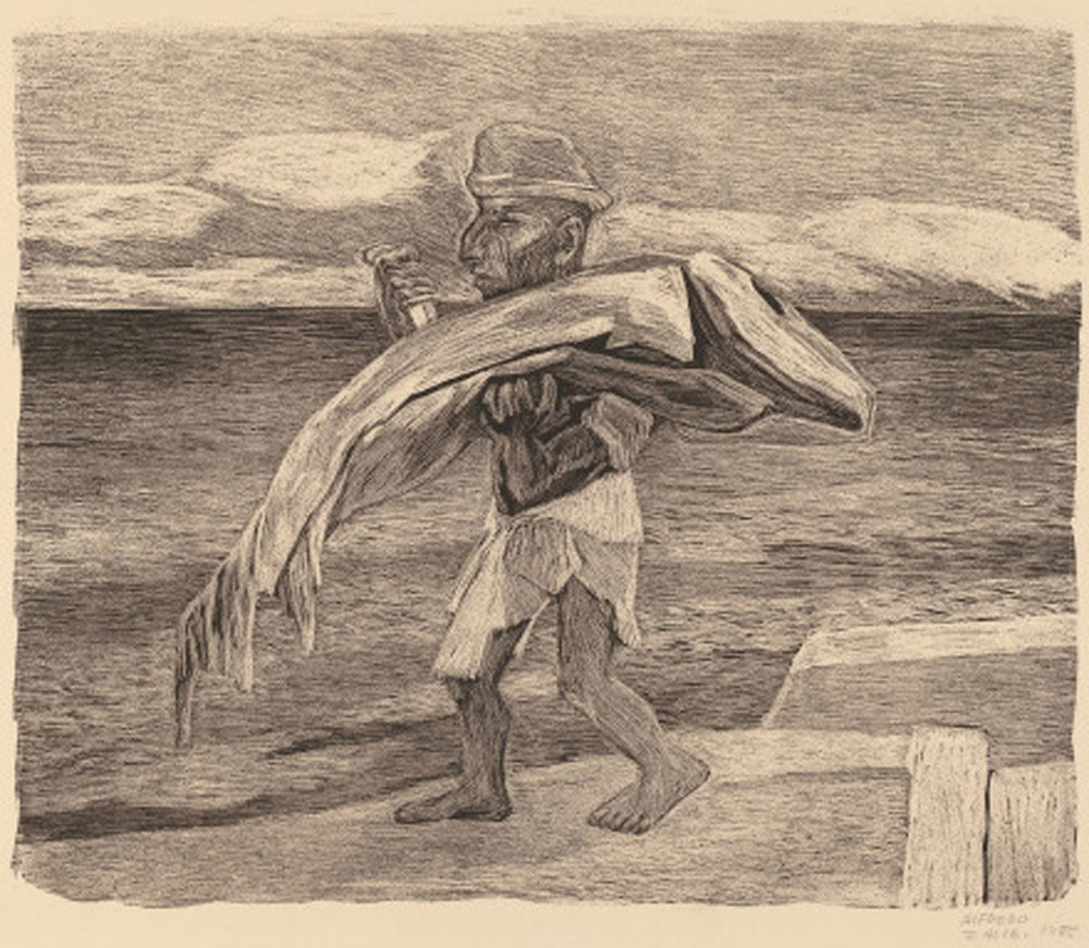 Alfredo Zalce: Mayan Fisherman in Yucatán, 1945. Lithograph:  nga.gov .