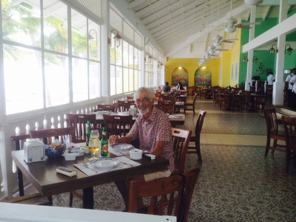 My husband Rhod in the Los Flamingos restaurant. 2016