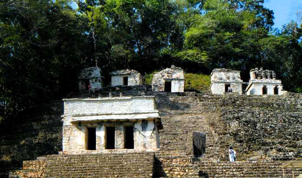 Small temples, similar to 'Temple of the Swallows', scattered on top of the Acropolis at Bonampak.