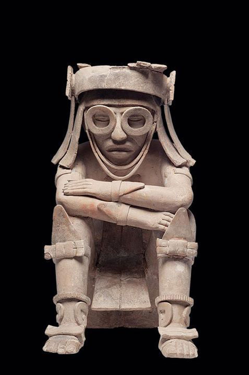 Tlaloc, Aztec god of rain, water, and fertility, usually shown with goggles Museum of Anthropology of Xalapa:  arcomuseum.com .
