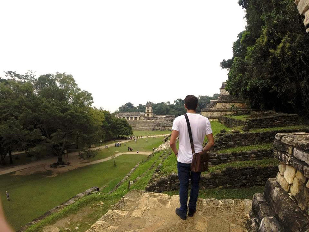 My son Rhodri admiring the Palace from the Temple of the Skull, 2013.